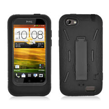 For HTC ONE V Impact Hybrid Hard Rubber Case Phone Cover + Kick Stand Black