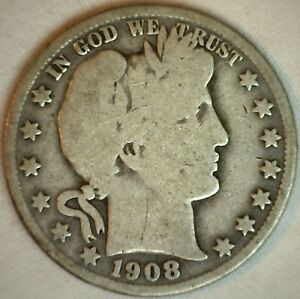 1908 O Barber Silver Half Dollar 50 Cent US Type Coin Good K