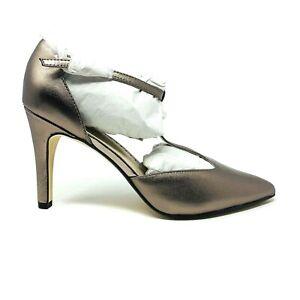 New Adrienne Vittadini Cecelia Bronze Leather T Strap Heels Sz 8.5M Pumps NIB
