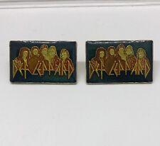 Set Of 2 Vintage Def Leppard Music Group Name unusual old enamel pin Blue