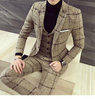 Men Beige Plaid Suit Tweed Groom Tuxedo Formal Wedding Prom Party Dinner Suit