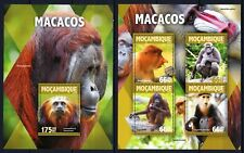 MOZAMBIQUE 2016 MACACOS PRIMATES MONKEYS WILD ANIMALS FAUNA AFRICA STAMPS MNH**