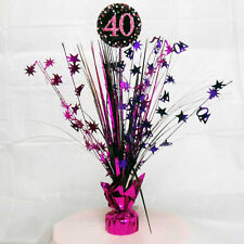 40th Anniversaire Spray Pièce maîtresse table décoration noir rose violet
