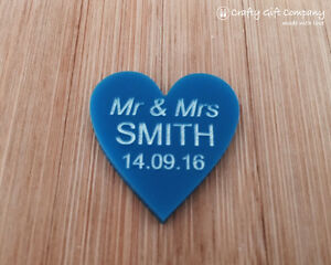 Personalised BLUE 3cm Acrylic Heart Wedding Favours Table Decorations Vintage