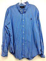 Polo Ralph Lauren Long Sleeve Oxford Shirt Striped Mens Size XL Blue White Black