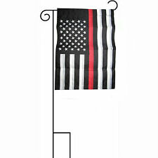 "12x18 Embroidered USA Fire Fighter Red Line Sleeved w/ Garden Stand 12""x18"" Flag"