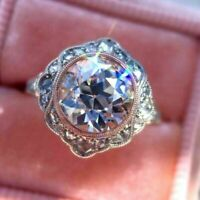 Vintage Engagement Ring 2.5 Ct Diamond Art Deco Wedding Ring 14k White Gold Over