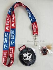 New Marvel Collector Corps Civil War Neck Strap Keychain Lanyard Patch & Pin