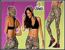 ZUMBA 2Pc.SET! Mashed Up Hooded Bra Top (Max Support & Comfort) + Leggings S M L
