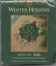 Christmas Holly Glass Bead Kit & Treasure by Mill Hill w/ Magnet