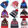 Christmas LED Lighted Winter Warm Beanie Cap Santa Claus Snowflake Knitted Hat