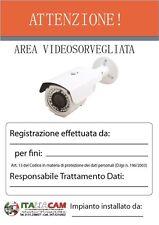 CARTELLO TARGA AREA  SOTTOPOSTA A VIDEOSORVEGLIANZA CM. 20x30  PLESSIGLAS
