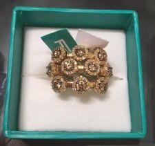 EFFY 14K Yellow Gold Beautiful Brown Diamond Ring 7 Big Statement 3 Rows New NWT