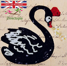 Sew On Sequins Applique Black Swan Patch Sparkly Customise Craft Clothing