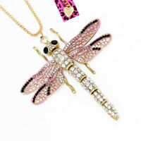 Betsey Johnson Enamel Crystal Big Dragonfly Pendant Sweater Chain Necklace Gift