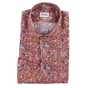 Drumohr Slim-Fit Intricate Floral Paisley Print Cotton Dress Shirt 15.5 NWT