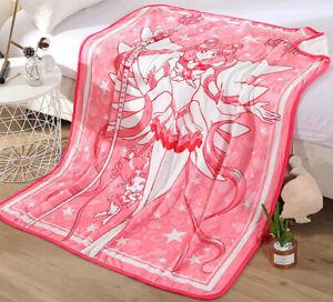 Anime Sailor moon Tsukino Usagi Coral Fleece Throw Blanket Bed Sheet Warm Pink