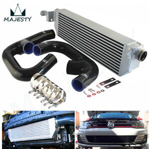 Upgrade FMIC Twin Intercooler +Black Hose Kit For Volkswagen Golf R GTI MK7 2.0T