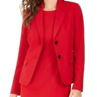 Kasper Womens Solid Red Fire Buttoned Stretch Blazer Jacket Long Sleeves Size 4