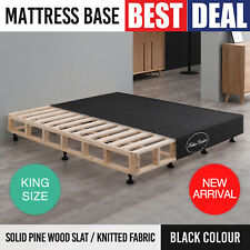 Mattress Base King Black Knitted Fabric Washable Cover Solid Pine Wood Slat