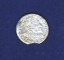 POLAND (RIGA) SIGISMUND III 1597  3 GROSCHEN (GROSSUS)(TROJAK) SILVER COIN, AU+