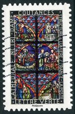 TIMBRE FRANCE  AUTOADHESIF OBLITERE N° 1348 / VITRAUX / COUTANCES