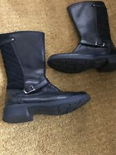 Black Leather Boots Size 3 Flat Knee High Boots