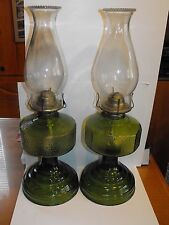 Vintage Eagle Oil Kerosene Lamps Green Depression Glass w/Chimney BEAUTIFUL!!