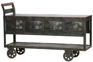"""63"""" Long Fanette Carbon Polished Iron Mixed Wood Top Four Drawers Solid Rust 615"""