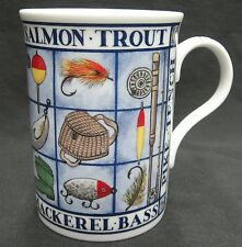 Heirloom Bone China Mug with Fishing Icons and Names of Fish Excellent