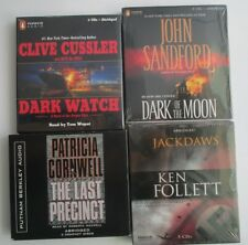 Lot of 4 NEW CD Audiobooks John Sandford Clive Cussler Patricia Cornwell Follett