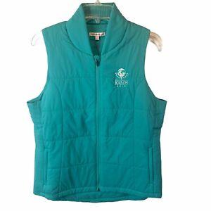 Peter Millar Womens Large Kalos Golf Zip Up Green Vest  3DeFX+ Zip Pockets NEW