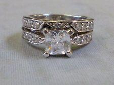 PRINCESS CUT CZ STERLING SILVER 925 ENGAGEMENT RING WEDDING RING SET- 2.25 CTW!