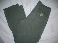 *CARHARTT* Green Cargo Relaxed JEANS Utility Double Knee Multi Pocket 33 x 30