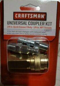 CRAFTSMAN UNIVERSAL COUPLER KIT 1/4 INCH QUICK CONNECT BODY NPT THREADS-16377
