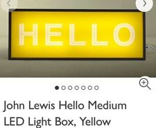 John Lewis 'HELLO' sign - Light Up LED Metal Sign - NEW - Yellow Black