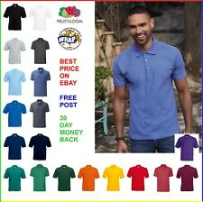MENS POLO SHIRT Fruit of the Loom PIQUE POLY/COTTON - 3 Button, 20 Colours