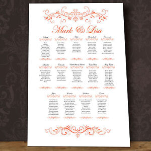 Personalised Wedding Seating Table Plan~Canvas~Board~Paper No Box Scrolls Design