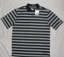 NEW NIKE Dri-Fit Golf Polo Shirt Mens Large Black/White Striped NWT!