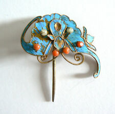 Qing Dynasty Kingfisher Feather Hair Pin Antique VINTAGE Coral Chinese Ca. 1850