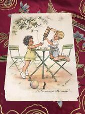 "GERMAINE BOURET Superbe GRAVURE  "" Tu te marieras cette année !"" 24 x 18"