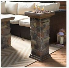 Outdoor Fire Pit Burner Faux Tile Stone Propane Table Rustic Heater Patio Deck