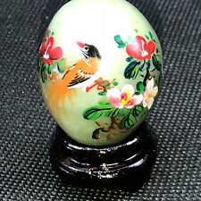 Jadeite Collectors Egg good luck figurine Japan jade green marble peony bird red