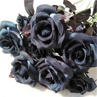 1PC Artificial Silk Black Rose Flower Bouquet Fake Flowers for Party Home Decor
