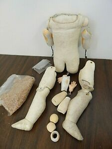 """Antique Kid Leather 17"""" Doll Body w/Compo. Arms, Needs Repair"""