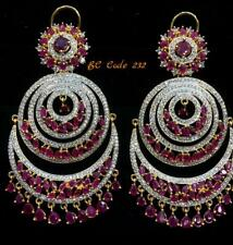 Indian Fashion Ruby & Cz Gemstone Gold Plated Handmade Dangle Earrings Jewelry