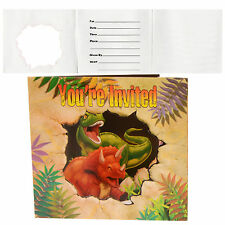 Dino Blast Boys Dinosaur Jungle Adventure Birthday Party Invitations X8