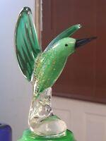 Art Glass Murano Hummingbird, Italian Hand Blown Green/Gold speck Art Glass Bird