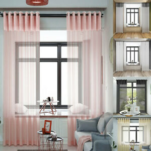 Pair Of Crushed Velvet Voile Net Eyelet Ring Top Panels Curtains Blush Silver