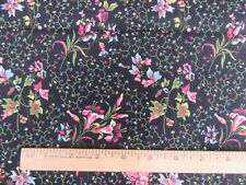 """REPRODUCTION FABRIC """"DARGATE POLYCHROMES"""" 1 YD BLACK MARGO KRAGER c.1830 ANDOVER"""
